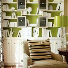 office adas features lime. white bookcase on bold lime green wall office adas features n