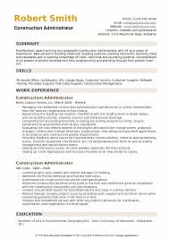 Administration Resume Templates Construction Administrator Resume Samples Qwikresume
