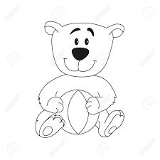 ボールとかわいいテディベア塗り絵の動物キャラクターの漫画の概要図子供のための素晴らしいカード