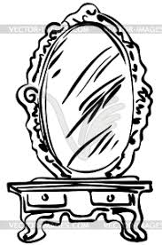 mirror clipart black and white. sketch of large mirror on dressing-table - vector image clipart black and white