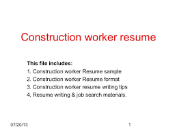 Construction Worker Resume Awesome Construction Worker Resume Sample