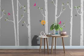 beautiful tree wall stickers 29 birch trees with deer