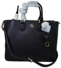 tory burch robinson square black pebbled leather tote