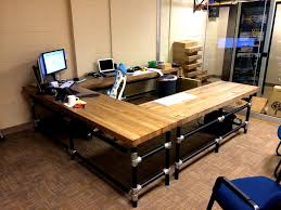 U-Shaped Butcher Block Desk | by Simplified Building Concepts Nice desk  here with loads
