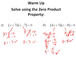 1 warm up solve using the zero property