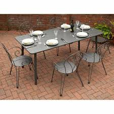 6 seater outdoor dining set grey metal steel extending table garden ideas with dining table set