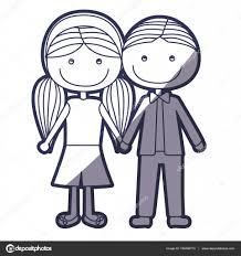 青色の短い髪と撮影の手で女の子のおさげ髪型輪郭似顔絵の少年