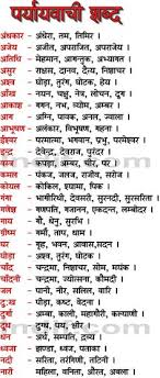 hindi synonyms prayavachi shabad