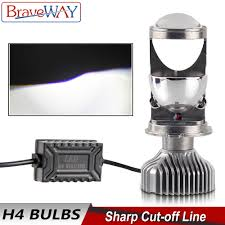 <b>BraveWay H4</b> Mini Bi <b>LED</b> Projector Lens <b>Headlight</b> Motorcycle Auto ...