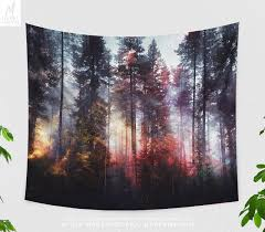 colorful foggy forest tapestry forest wall tapestry boho wall decor forest photo forest wall hanging wander dorm decor in