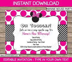 minnie mouse party invitations birthday party editable diy theme
