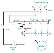 single phase motor starter wiring diagram direct line starter 19a