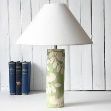 handpainted ceramic lamp base tall sage bird by ken eardley