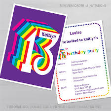 13th Party Invitations Personalised 13th Birthday Party Invitations Girl Or Boy A6 Postcard 2 Sides