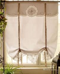 french country vtg tatted lace tie up valance curtain roller shade g white