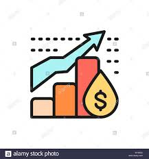 Vector Oil Price Chart Flat Color Line Icon Stock Vector Art