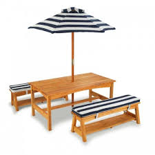 Table & Bench Set with Cushions & Umbrella Navy & White Stripes