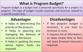 Budget Lists Examples What Is Program Budget Advantages Disadvantages