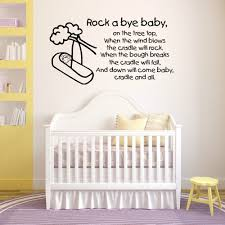 Us 6 97 25 Off Rock A Bye Baby Wall Stickers Quote Nursery Rhymes Childrens Kids Room Nontoxic Pvc Text Wall Sticker Removable Art Decals La975 In