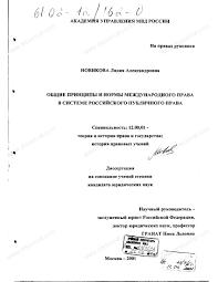 Диссертация на тему Общие принципы и нормы международного права в  Диссертация и автореферат на тему Общие принципы и нормы международного права в системе российского публичного
