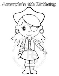 Personalized Printable Pirate Girl Birthday Party Favor Childrens