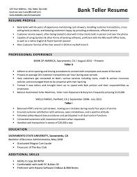 Bank Teller Resume Sample Design Inspiration Resume Bank