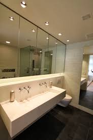 large recessed lighting. Bathroom With Large Wall Mirror Design Also Cool Recessed Lighting And Minimalist Trough Sink Idea Personalize