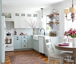 white cottage kitchens. An All-white Cottage Kitchen Is Classic, But Pretty Painted Base Cabinets In Pastel White Kitchens