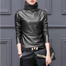faux leather turtleneck pleather black m clothing