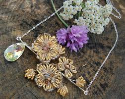 antique gold flower necklace french beaded flower pendant with swarovski crystals pre raphaelite
