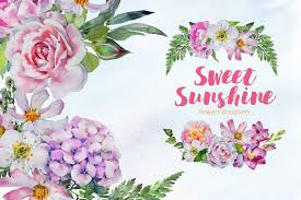Lilybud Gardens By Design Watercolor Sweet Sunshine Clipart Set Flower Bouquets Pink