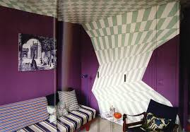 trendy purple bedrooms decoration ideas with gray chess ceiling to floor wall decals and purple wall painting also simple chairs in modern custom purple