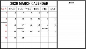 2020 March Calendar Printable Editable Template Blank 5