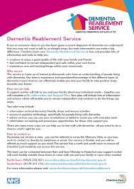 dementia fact sheet dementia reablement service fact sheet cvs cheshire east