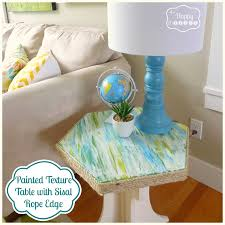 diy furniture makeover ideas. Painted Texture Table With Sisal Rope Edge Diy Furniture Makeover Ideas \