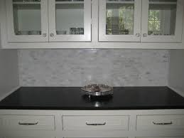 Marble Tile Backsplash Kitchen Glass Front Cabinets Glass Knobs Marble Mini Tile Backsplash