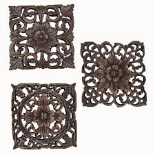 Square Metal Wall Decor Wood Carved Wall Plaque Decorative Wood Panels Rustic Wood Wall