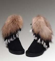 UGG Fox Fur Short Boots 8288 Black Classical ...