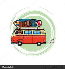 Camper Van Graphics Design Camper Van With Baggage Stock Vector Jemastock 233886182