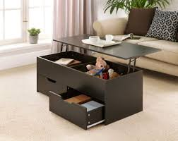black wooden coffee table with lift up