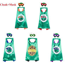 Ninja Turtles Mask Double Layer Cloak Teenage Mutant Ninja Turtles The Avengers Kid Birthday Gift Costume Cosplay Party Supplies