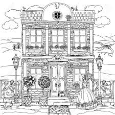 timely coloring book house frone of a with flowers plants cat and dog for