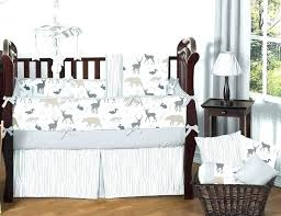 neutral crib bedding white baby sets gray forest animal safari deer fox bear and set