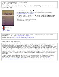 Pdf Defense Mechanisms 40 Years Of Empirical Research