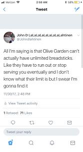 olive garden run and verizon all verizon 2 59 am tweet john