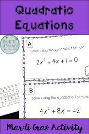 mardi gras math activity solving quadratic equations