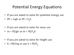 potential energy equations