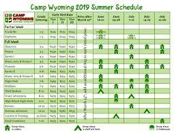 Summer Camp Weekly Schedule Summer Camp Schedule Camp Wyoming