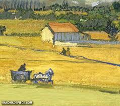 picture of harvest landscape with blue cart vincent van gogh