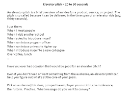 Elevator Pitch Examples For Students Thumbnail 30 Second Elevator Speech Template Pitch Example For Real